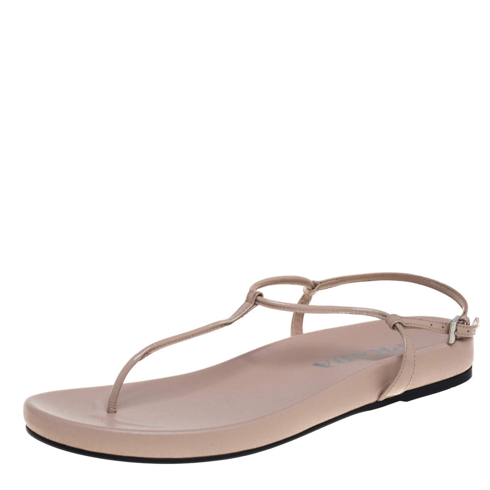 Prada Beige Patent Leather Thong Sandals Size 39