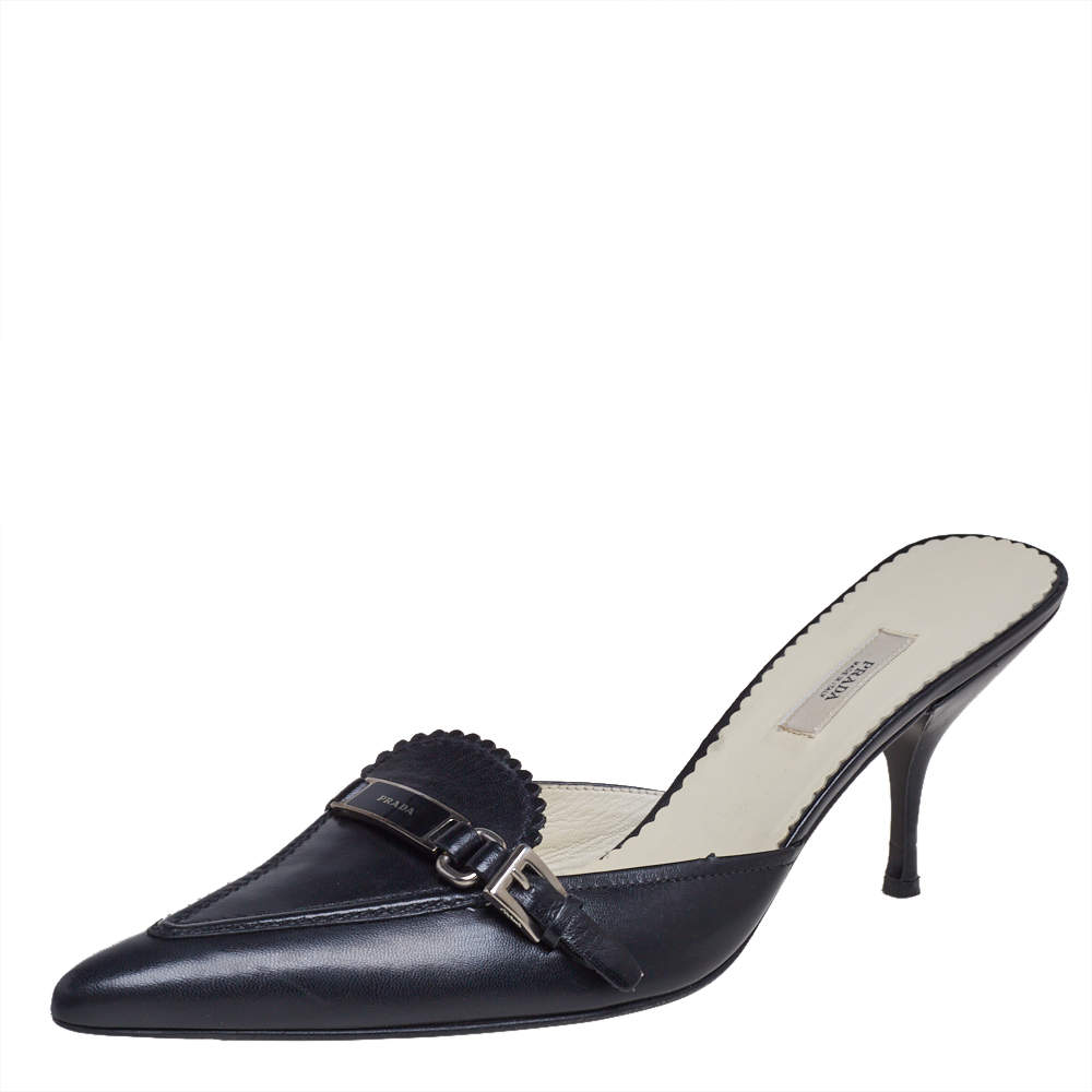 Prada Black Leather Pointed Toe Scamosciato  Mule Sandals Size 38