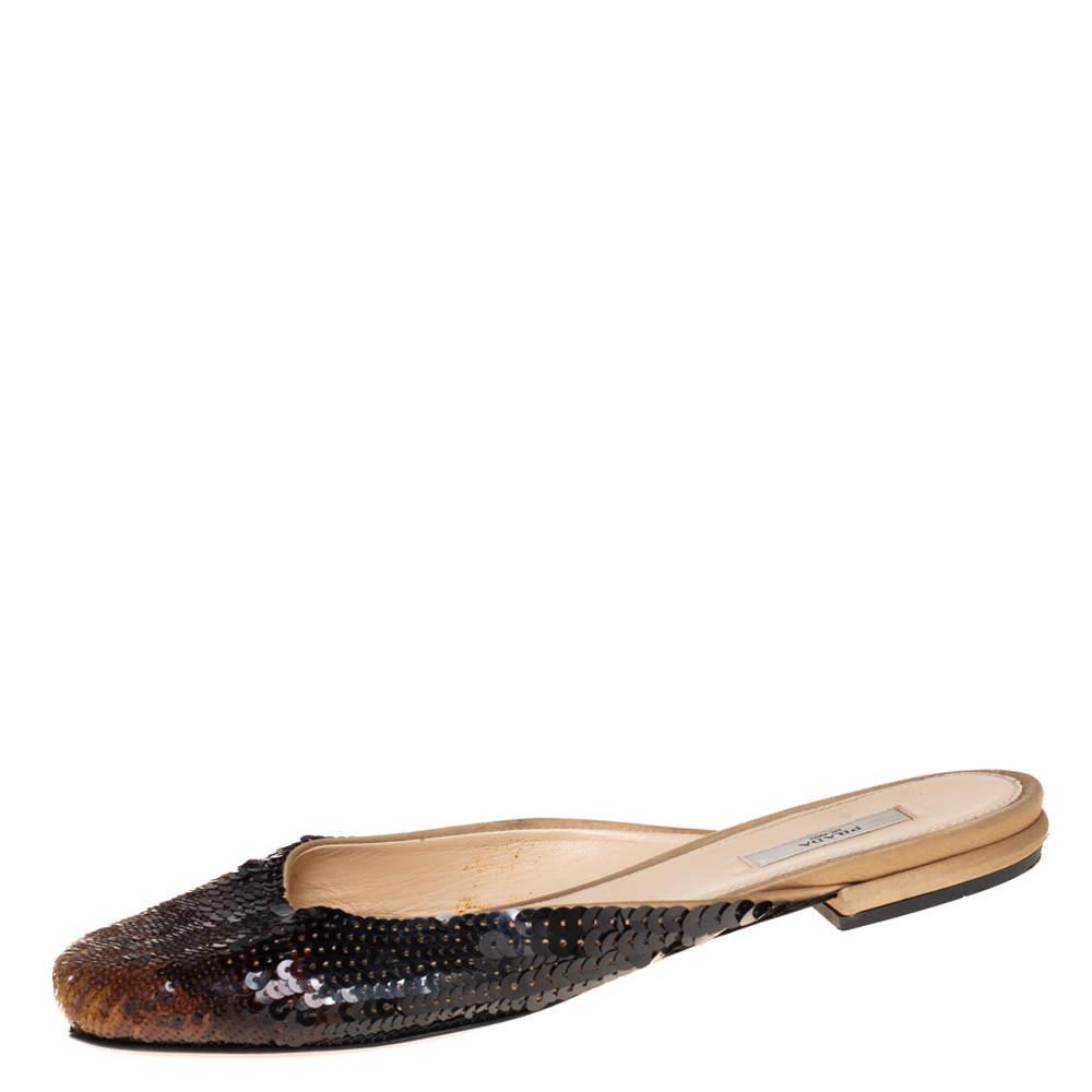 Prada Multicolor Ombre Sequin Flat Mules Size 36.5