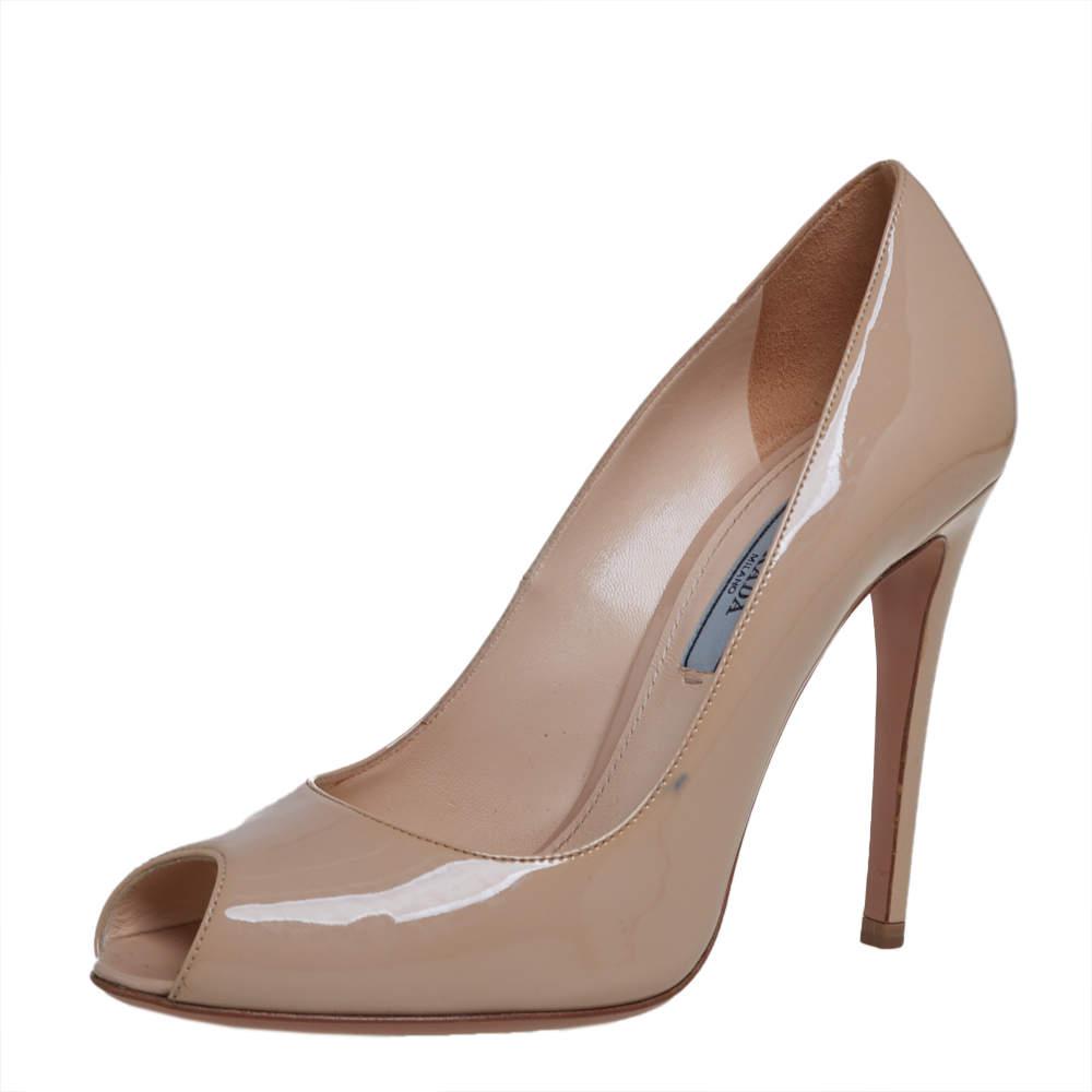 Prada Nude Patent Leather Peep Toe Pumps Size 37