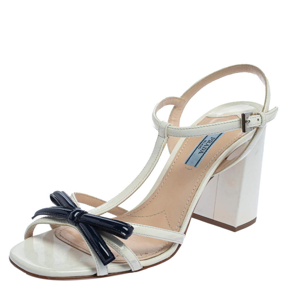 Prada White/Blue Patent Leather Bow T-strap Sandals Size 39.5
