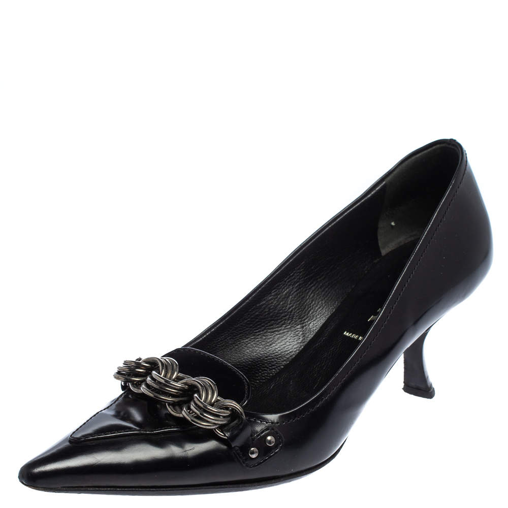 Prada Black Leather Pointed Toe Chain Embellishment Pumps Size 36