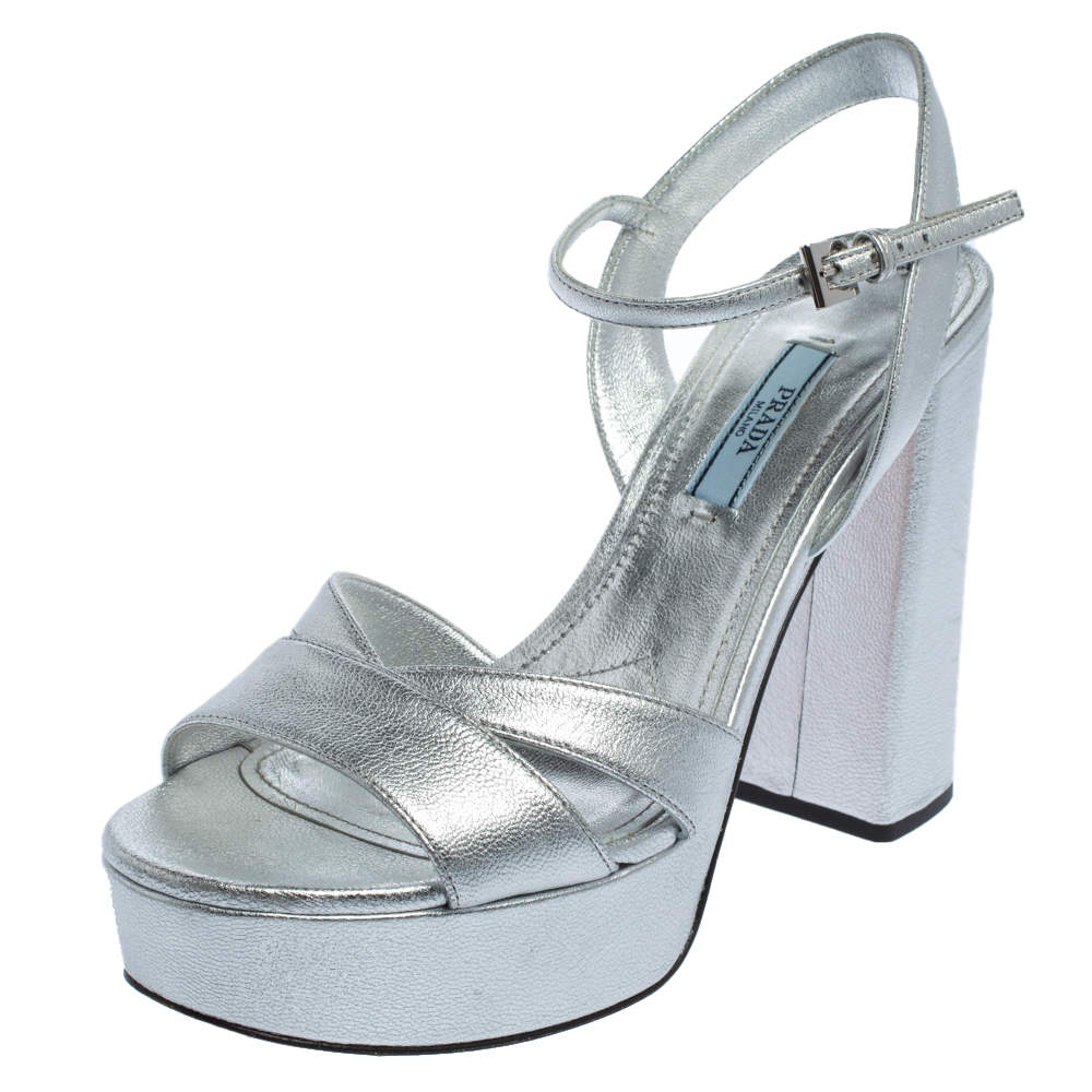 Prada Silver Leather Ankle Strap Platform Sandals Size 37.5