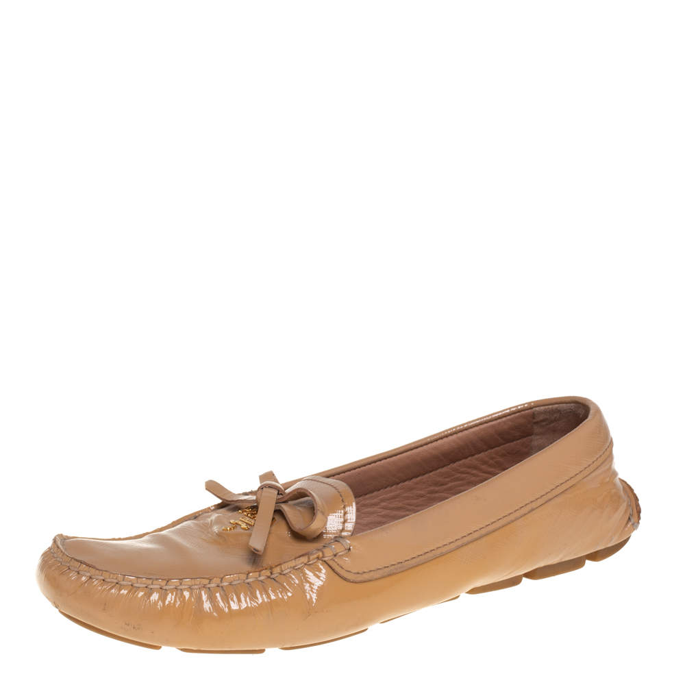 Prada Beige Patent Saffiano Leather Bow Slip On Loafers Size 40