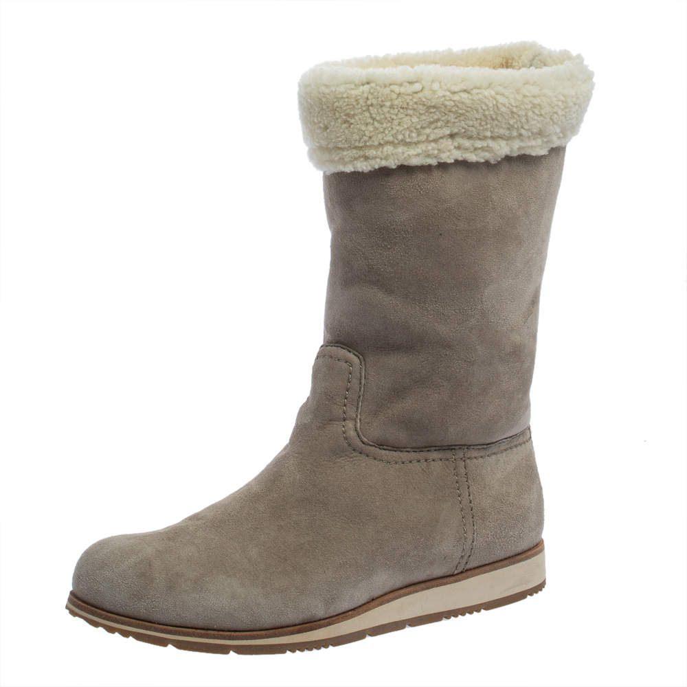 Prada Grey Suede And Shearling Fur Trimmed Mid Calf Boots Size 38