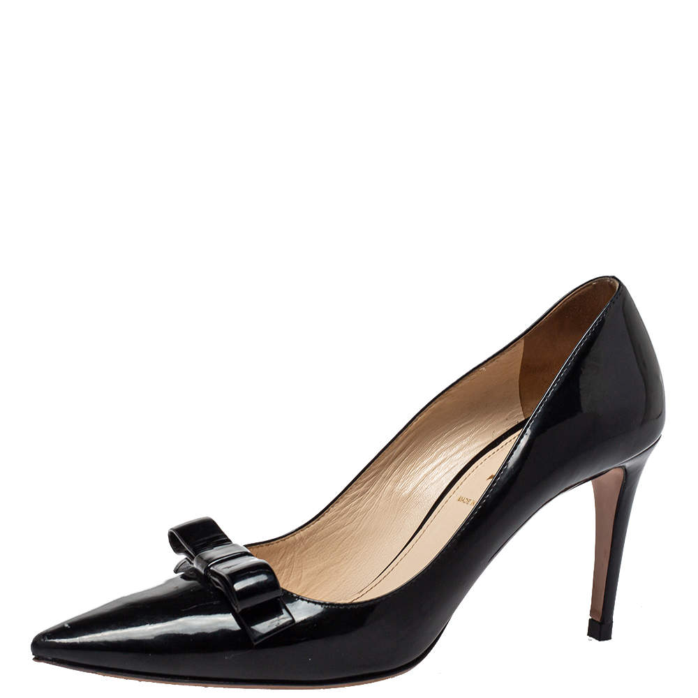 Prada Black Patent Leather Bow Pointed Toe Pumps Size 38.5