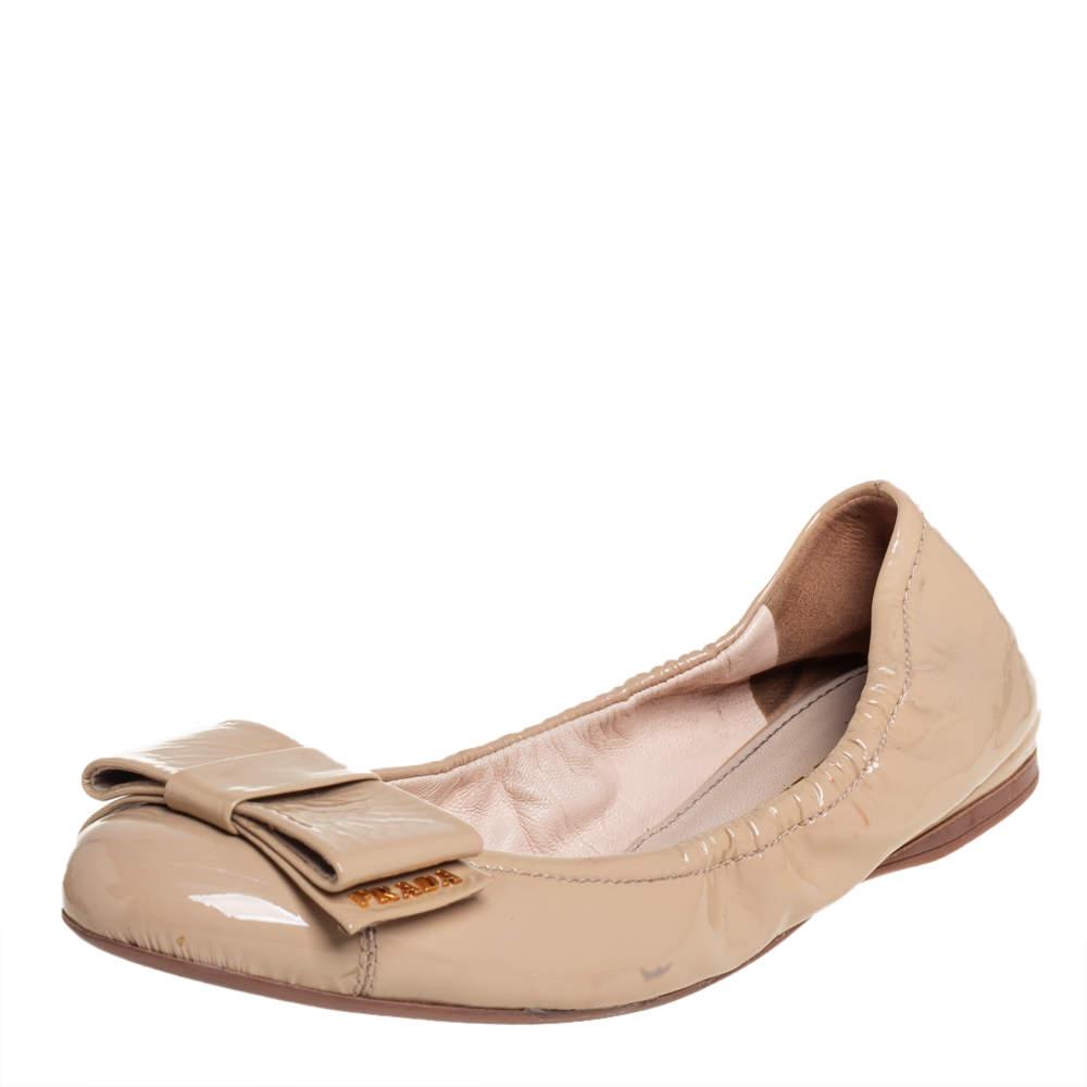 Prada Beige Patent Leather Bow Ballet Flats Size 37.5