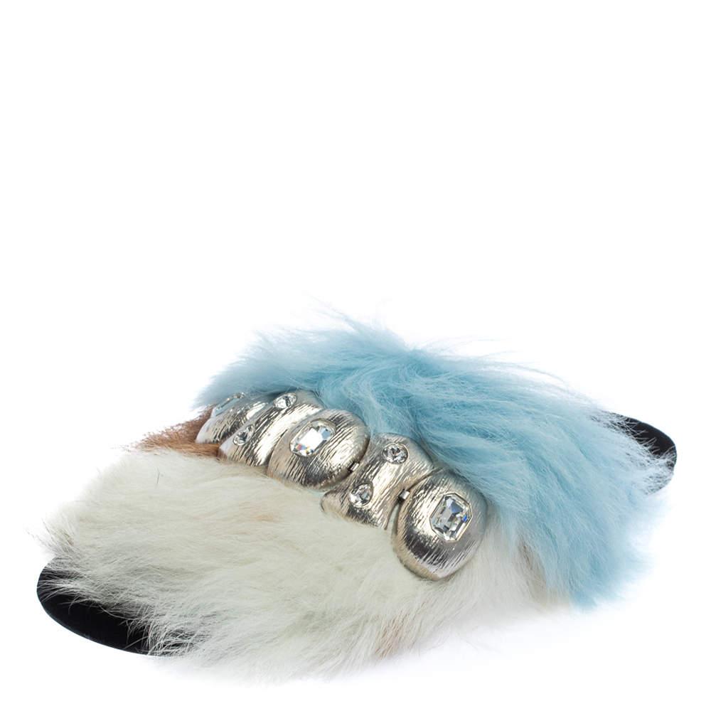 Prada Multicolor Fur Embellished Fluffy Sandals Size 38