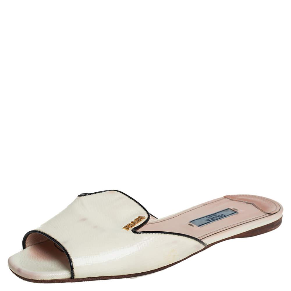 Prada Cream And Black Patent Leather Logo Embellished Flat Slides Size 37