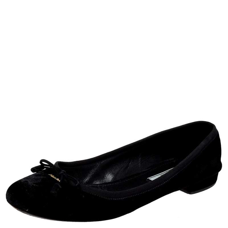 Prada Black Velvet Bow Ballet Flats Size 39
