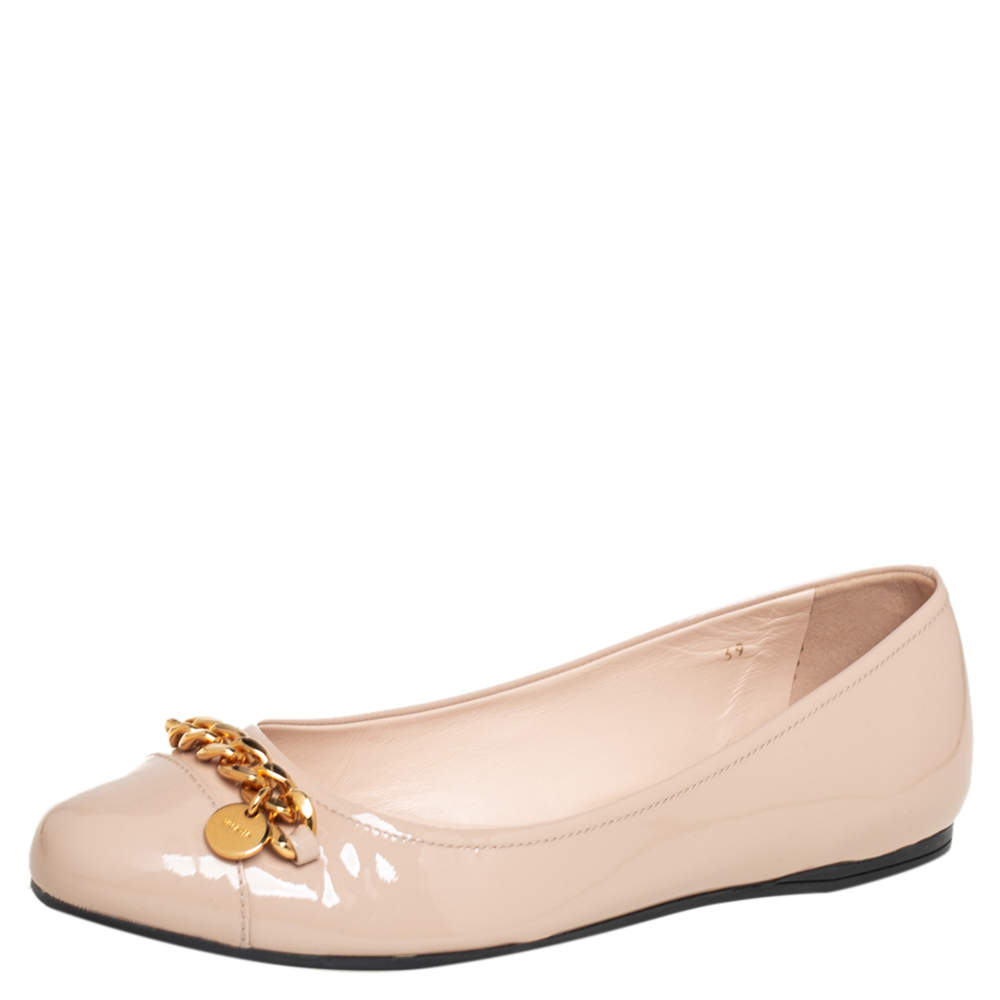 Prada Beige Patent Leather Chain Embellished Ballet Flats Size 39