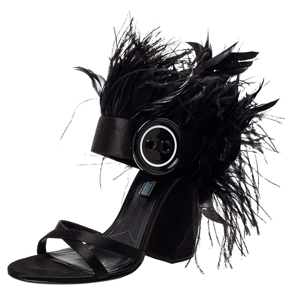Prada Black Satin And Feather Trim Criss Cross Block Heel Sandals Size 39.5