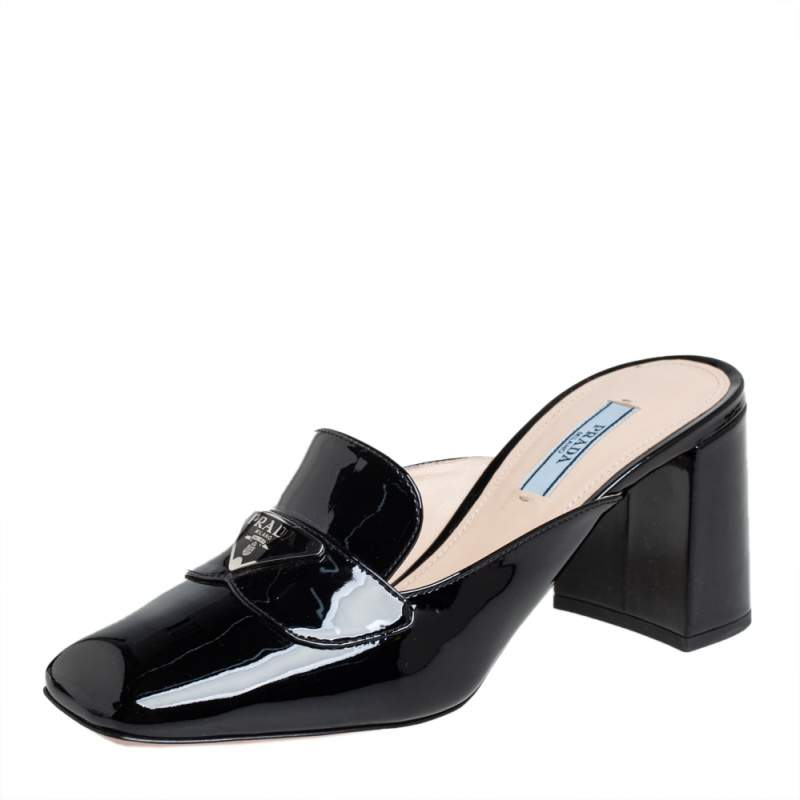 Prada Black Patent Leather Mules Loafer Size 37