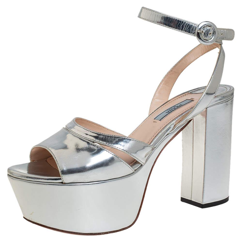 Prada Silver Patent Leather Open Toe Ankle Strap Platform Sandals Size 38.5