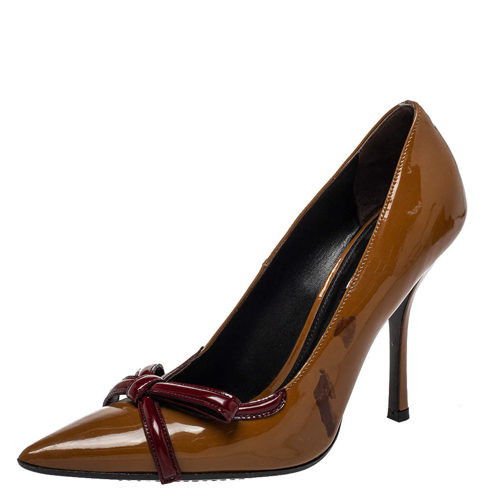 Prada Vintage Brown/Red Patent Leather Bow Pointy Toe Pumps Size 38