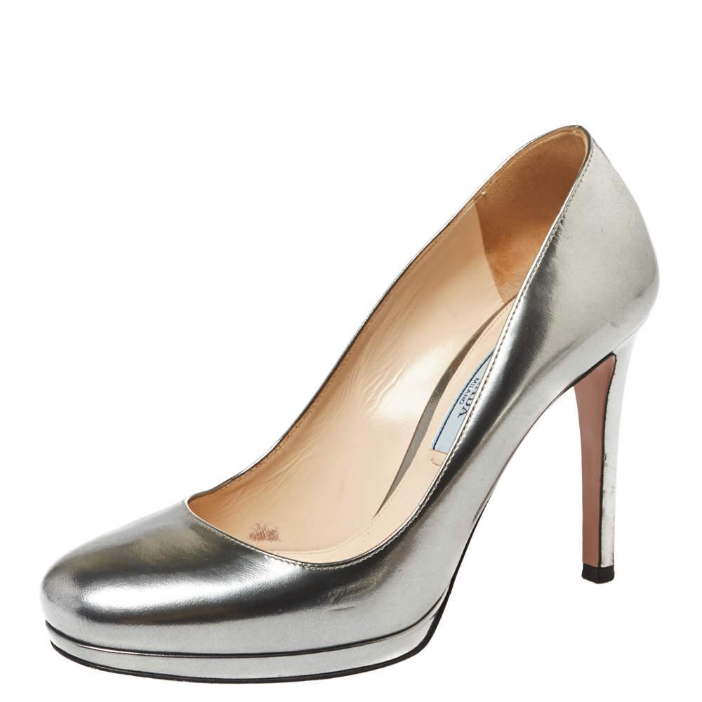 Prada Metallic Silver Leather Round Toe Pumps Size 36