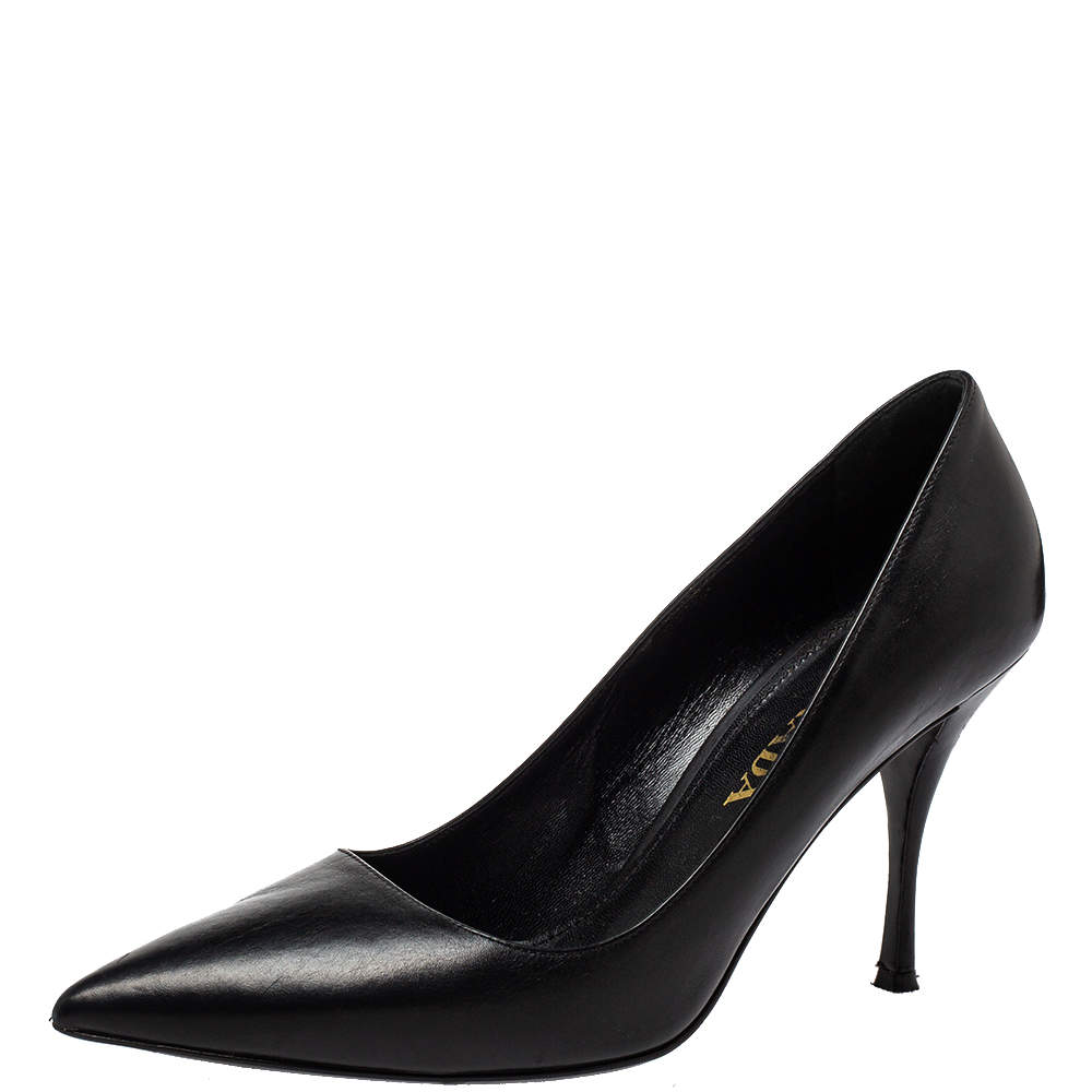 Prada Black Leather  Pointed Toe Pumps Size 38
