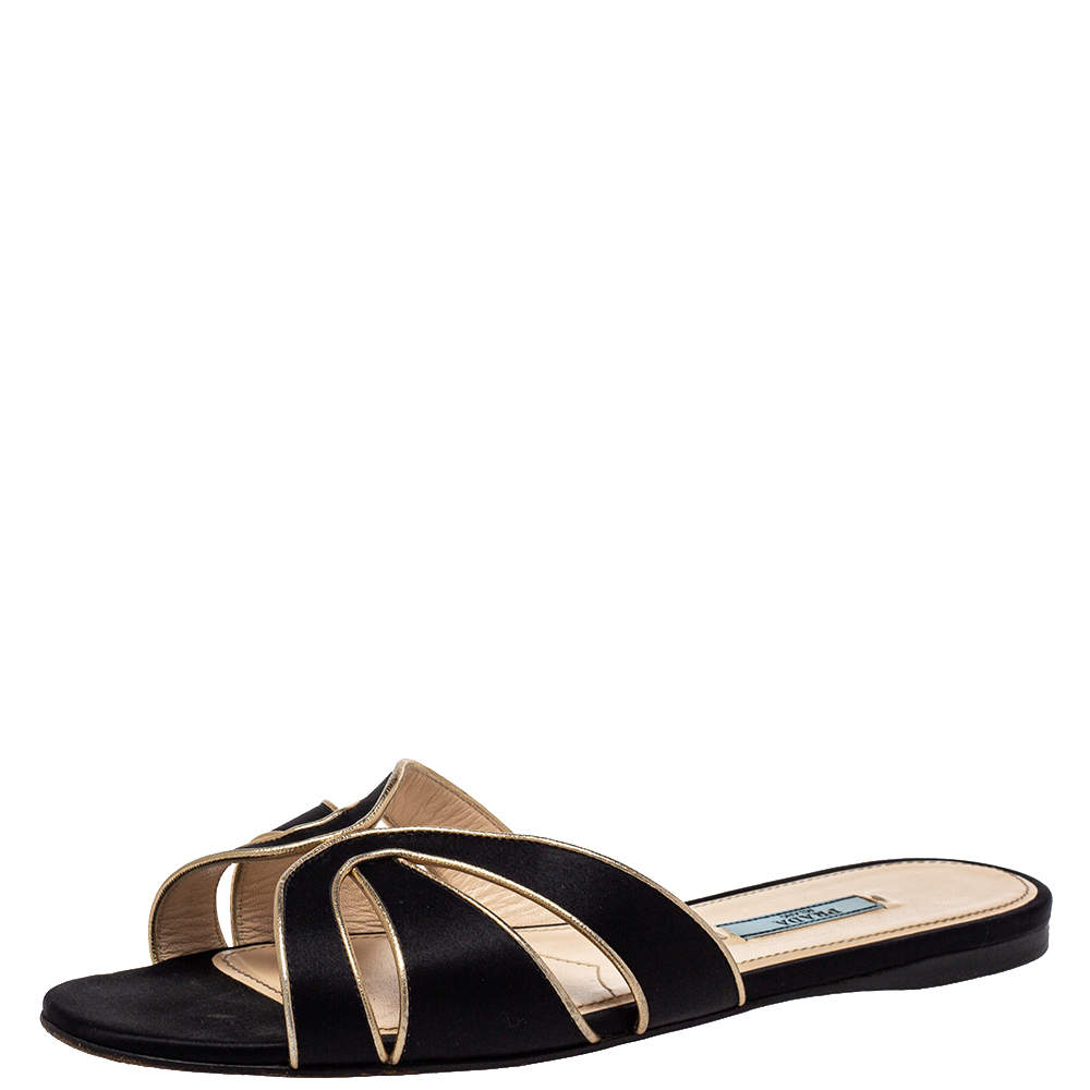 Prada Black Laser Cut Satin Flat Slides Size 39.5