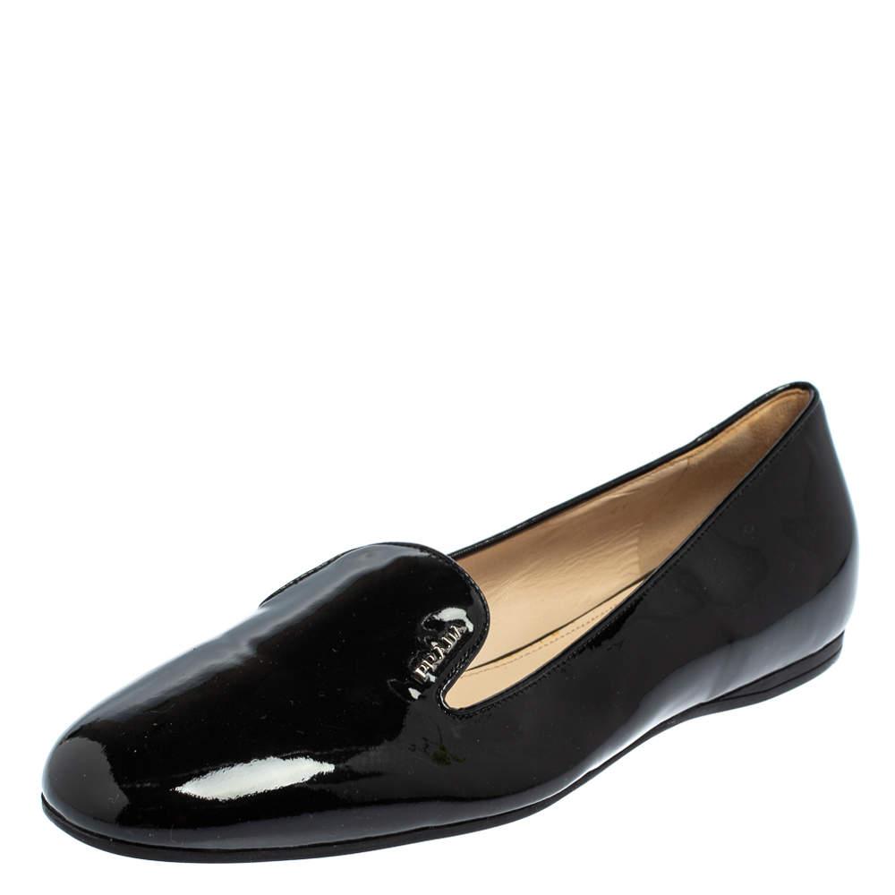 Prada Black Patent Leather Loafers Size 41