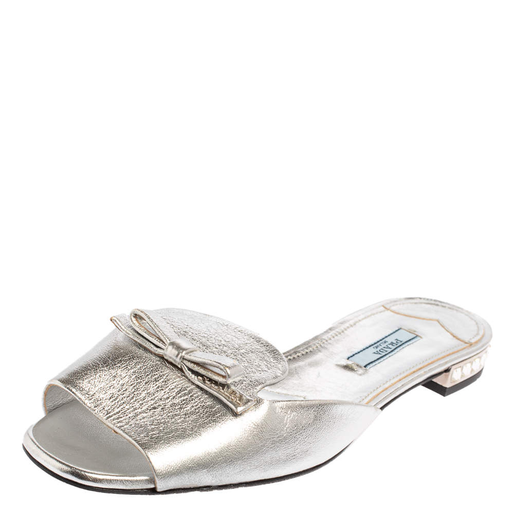 Prada Silver Leather Bow Flat Sandals Size 39