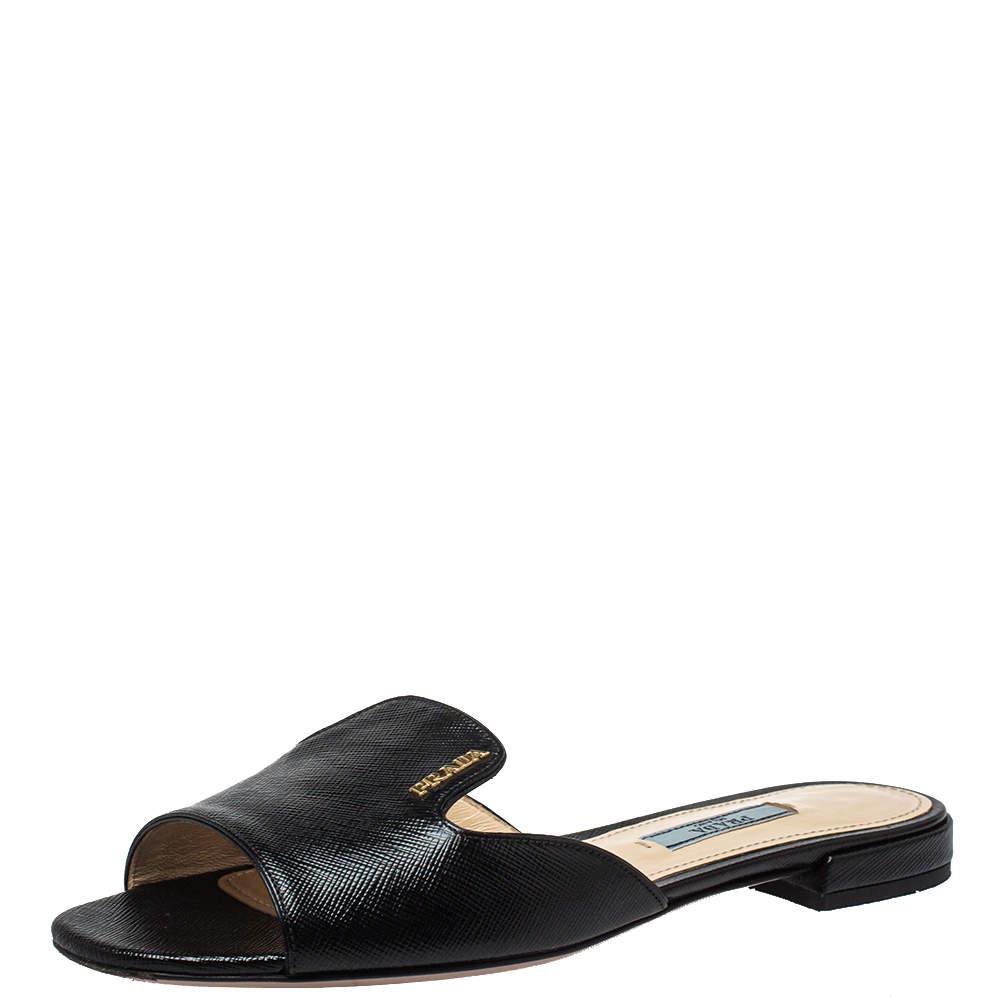 Prada Black Saffiano Leather Flat Slides Size 36.5
