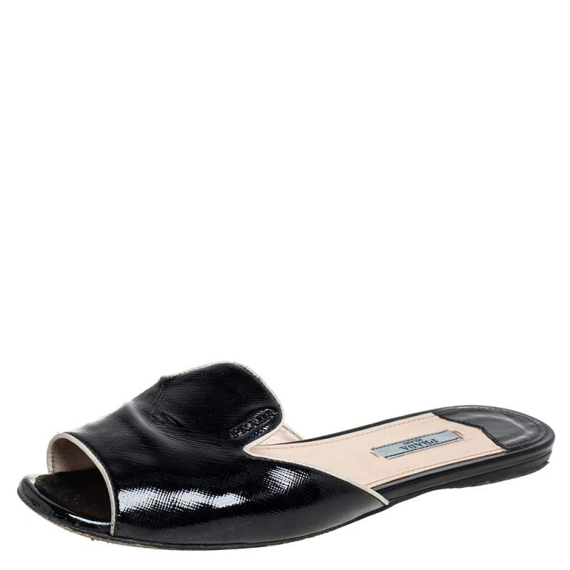 Prada Black Patent Saffiano Leather Flat Slides Size 38.5