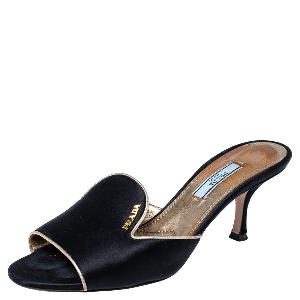 Prada Black Satin Slide Sandals Size 37