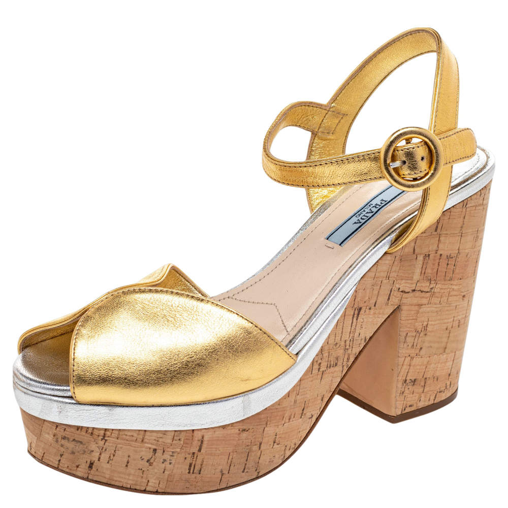 Prada Gold Leather Platform Cork Block Heel Ankle Strap Sandals Size 38.5