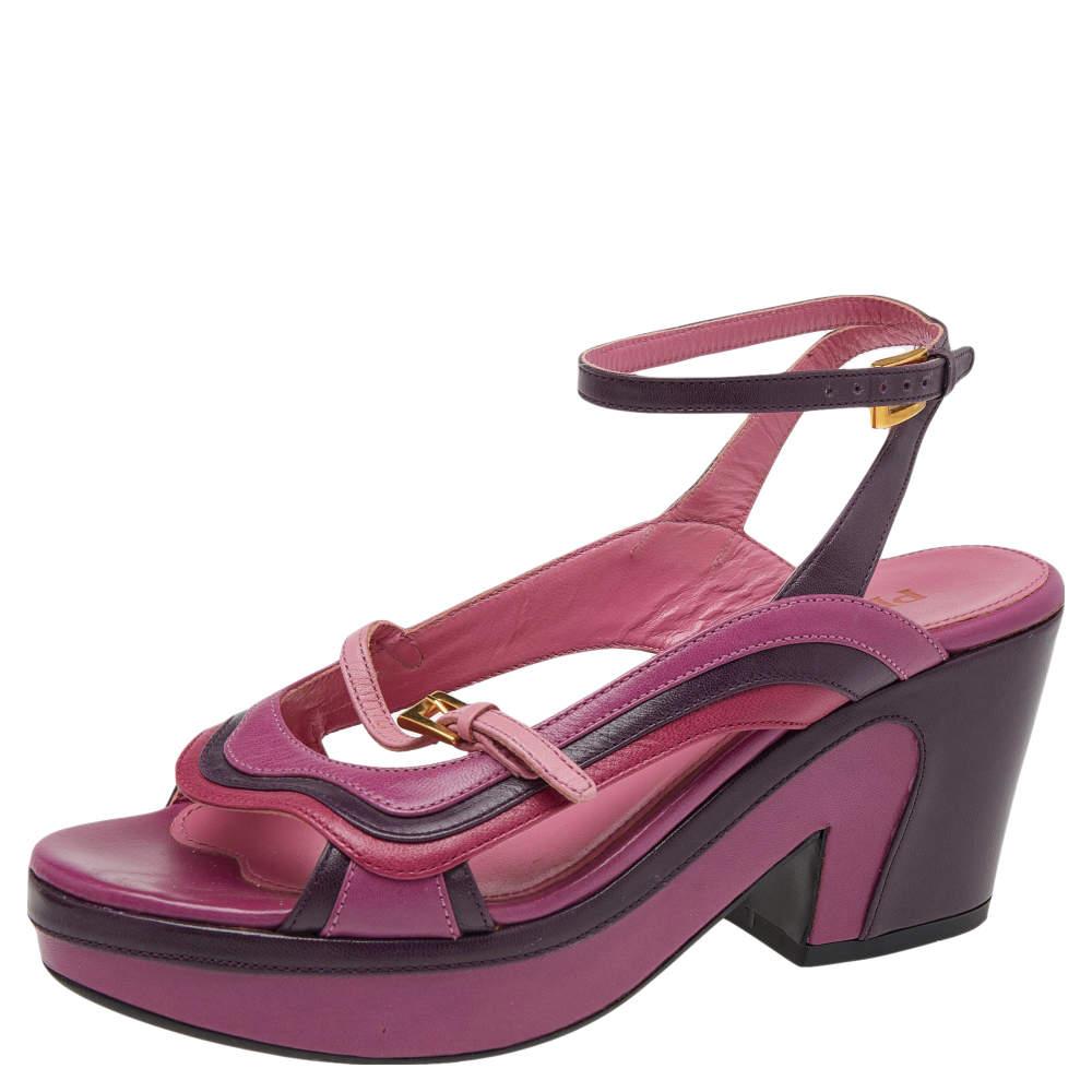 Prada Tricolor Leather Platform Ankle Strap Sandals Size 36.5