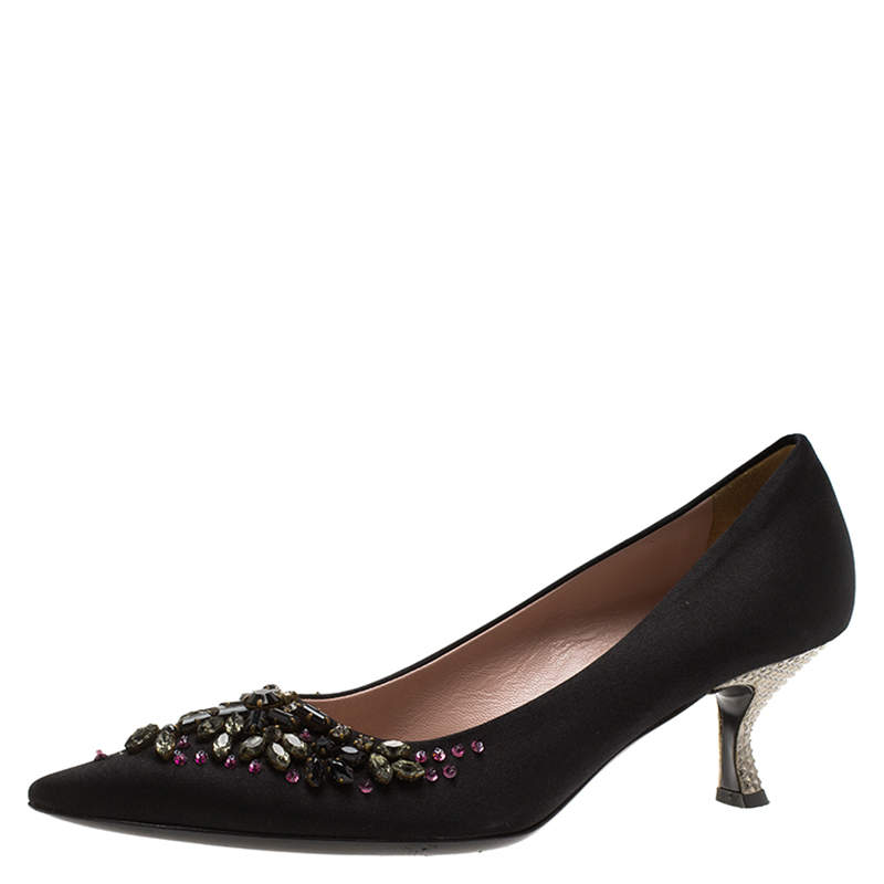 Prada Black Satin Embellished Pointed Toe Pumps Size 36.5
