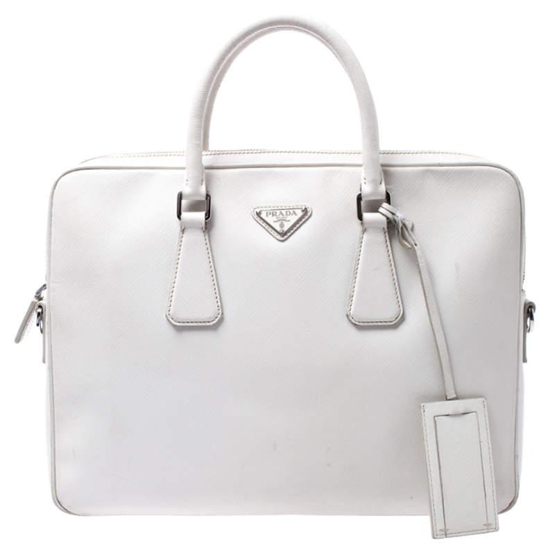 Prada White Saffiano Leather Briefcase