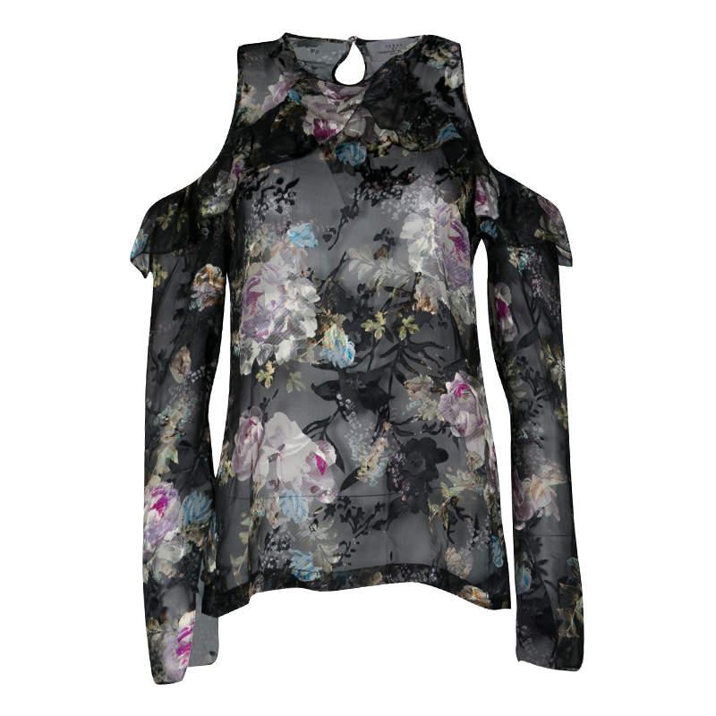 Preen By Thornton Bregazzi Floral Print Devore Chiffon Cold Shoulder Alva Top S