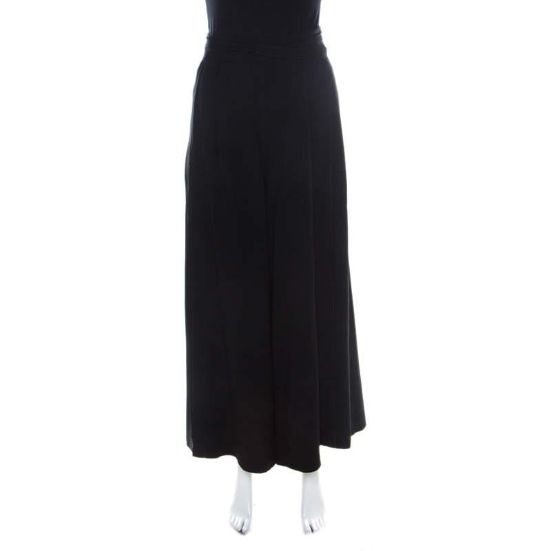 Proenza Schouler Black Crepe Waist Tie Detail Wide Leg Trousers M