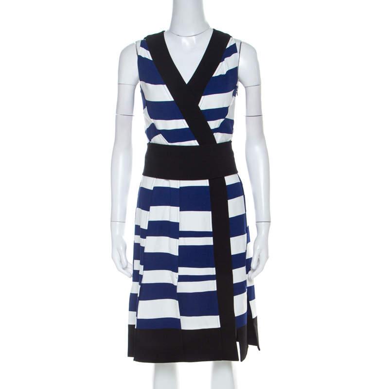 Proenza Schouler Blue White & Black Striped Sleeveless Paneled Dress S