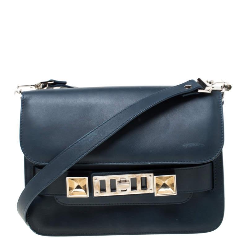 Proenza Schouler Navy Blue Leather Mini Classic PS11 Shoulder Bag