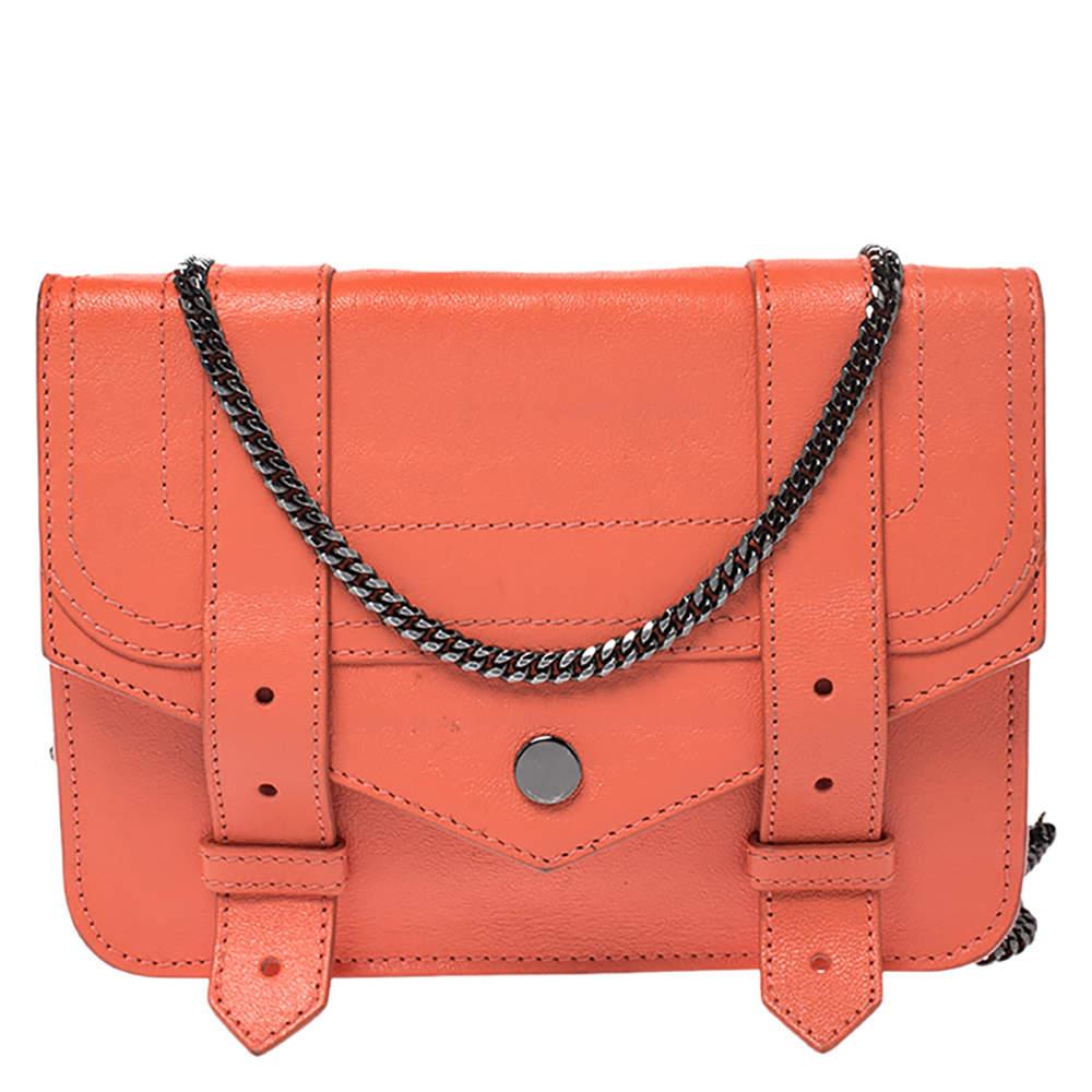 Proenza Schouler Orange Leather PS1 Wallet On Chain