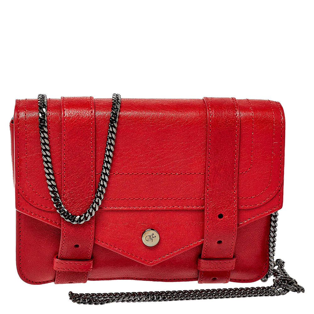 Proenza Schouler Red Leather PS1 Wallet On Chain