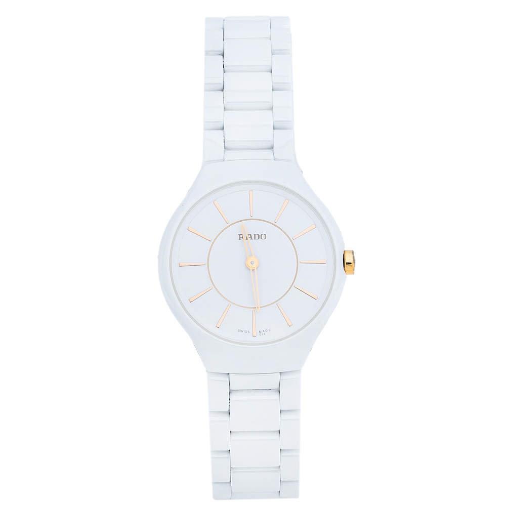 Rado White Ceramic Titanium True Thinline R27958109 Women's Wristwatch 30 mm