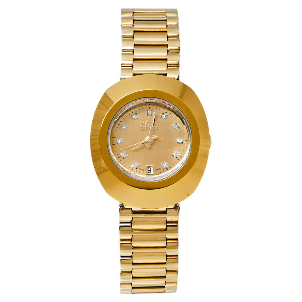 Rado Champagne Yellow Gold Tone Stainless Steel R12306303 DiaStar Quartz Women's Wristwatch 28MM