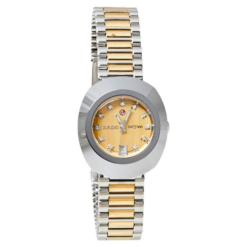 Rado Yellow Dial Tungsten Carbide Two-Tone Stainless Steel Diamond Diastar R12403633 Women's Wristwatch 27 mm