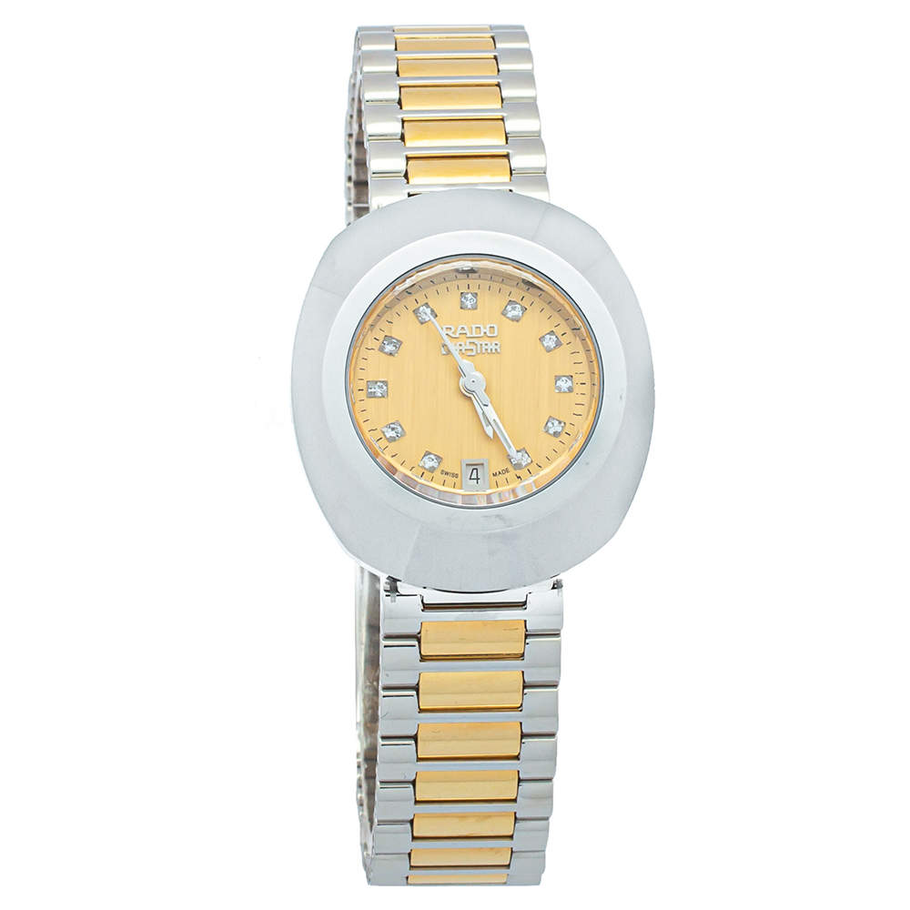 Rado Gold Tungsten Carbide & Two Tone Stainless Steel DiaStar R12307304 Women's Wristwatch 27mm