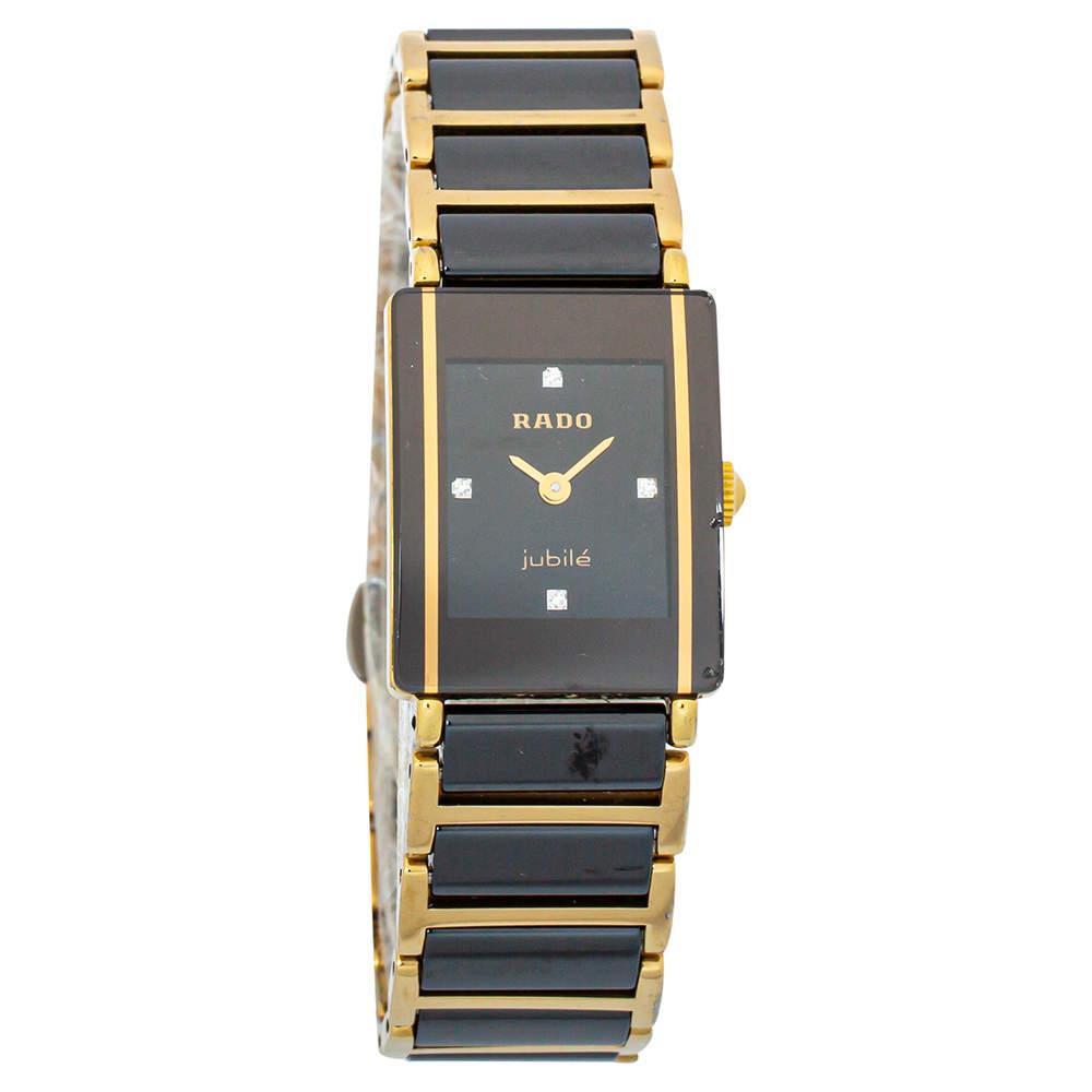 Rado Black Gold Tone Stainless Steel Titanium Ceramic Integral Jubilee 153.0383.3 Women's Wristwatch 18 mm