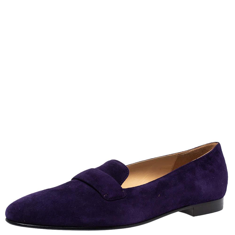 Ralph Lauren Purple Suede Slip On Flat Loafers Size 37