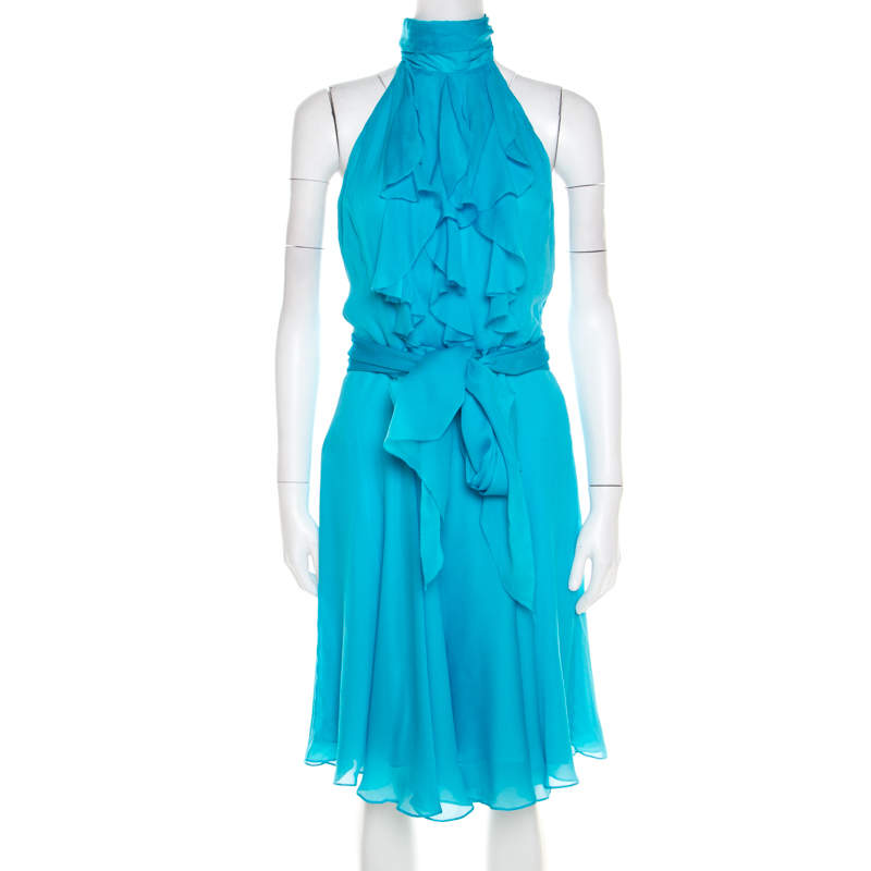 Ralph Lauren Collection Sky Blue Silk Ruffled Blackless Halter Dress M