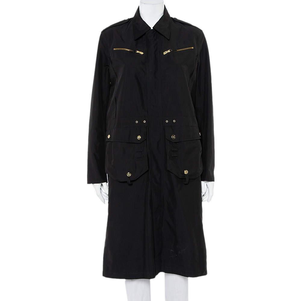Ralph Lauren Collection Black Synthetic Zip Front Utility Coat M