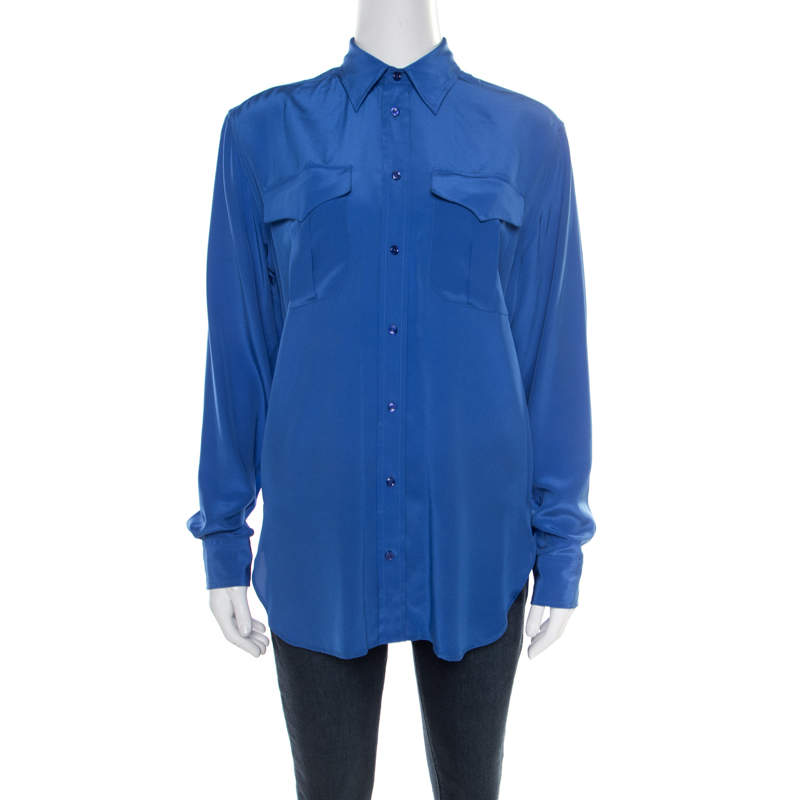 Ralph Lauren Ocean Blue Silk Button Front Safari Shirt M