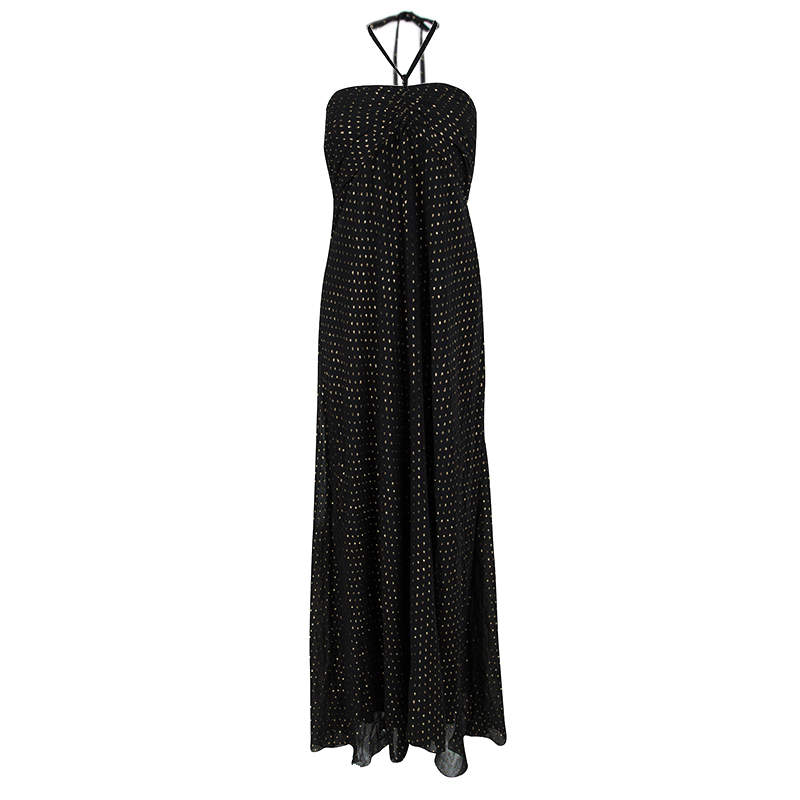 Ralph Lauren Black Silk Clip Dot Ruched Detail Strapless Dress L