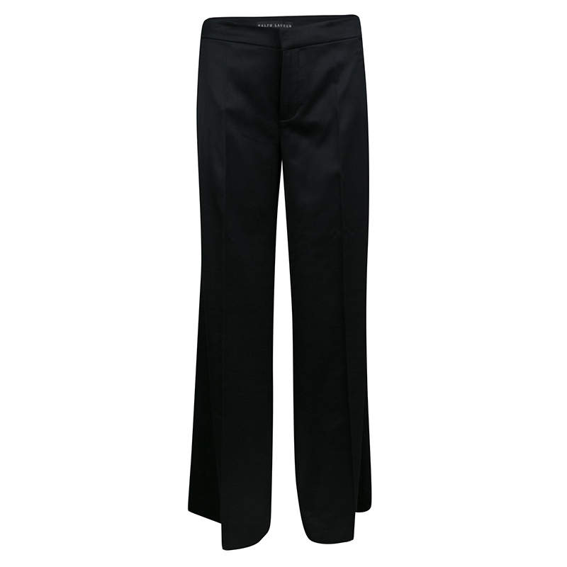 Ralph Lauren Black Stretch Wool Wide Leg Pants S