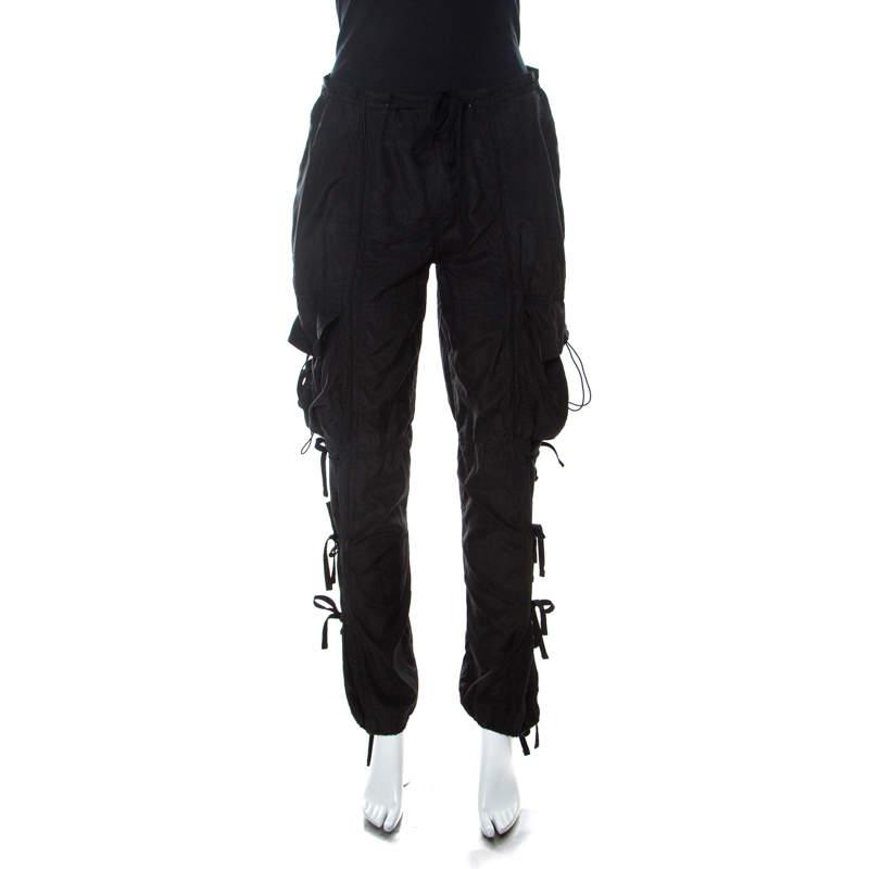 Ralph Lauren Black Silk & Cotton Blend Cargo Trousers M