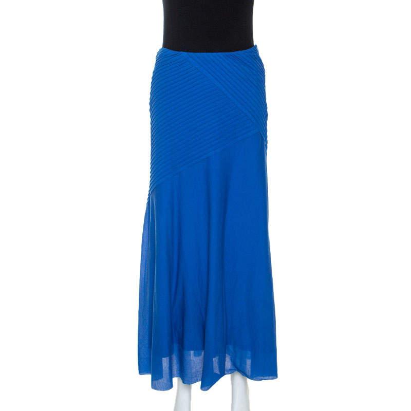 Ralph Lauren Blue Cotton Pintuck Detail Maxi Skirt S